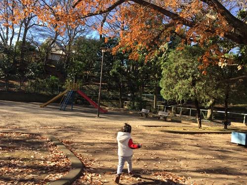 公園で子供と遊ぶ