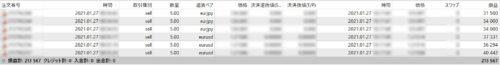 1月27日(水)トレード履歴